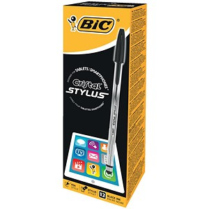 Image of BIC Cristal Stylus / Black / Pack of 12