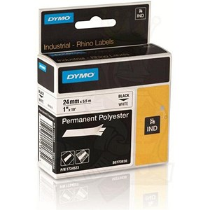 Image of Dymo Rhino Tape Permanent Polyester 24mm Black on White Ref 1734523