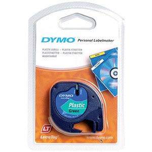 Image of Dymo LetraTag Tape Plastic 12mmx4m Black on Green Ref S071640