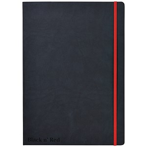 Image of Black n' Red Casebound Notebook / A4 / Ruled & Numbered / 144 Pages