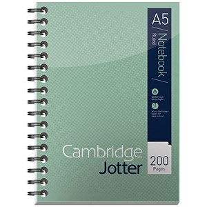 Image of Cambridge Jotter Wirebound Notebook / A5 / Ruled / 200 Pages / Pack of 3