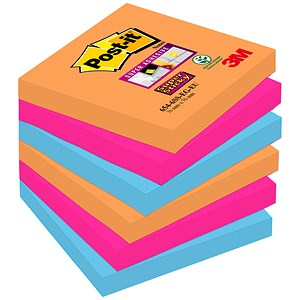 Image of Post-it Super Sticky Colour Notes / 76x76mm / Bangkok / Pack of 6 x 90 Notes
