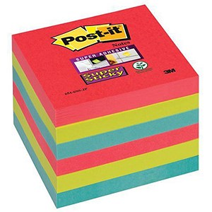 Image of Post-it Super Sticky Colour Notes / 76x76mm / BoraBora / Pack of 6 x 90 Notes