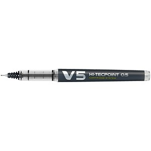 Image of Pilot V5 Rollerball Pen / Extra Fine Needlepoint / 0.5mm Tip / 0.3mm Line / Black / Pack of 10