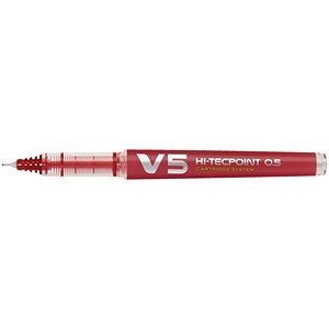 Image of Pilot V5 Rollerball Pen / Extra Fine Needlepoint / 0.5mm Tip / 0.3mm Line / Red / Pack of 10