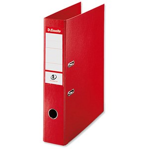 Image of Esselte No. 1 Power Foolscap Lever Arch Files / Slotted Covers / 75mm Spine / Red / Pack of 10