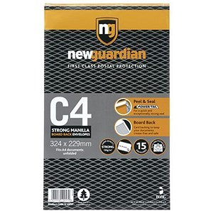 Image of New Guardian C4 Heavyweight Board-backed Envelopes / Peel & Seal / Manilla / Pack of 15