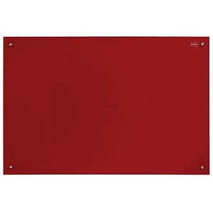 Image of Nobo Glass Magnetic Drywipe Board with Pen Tray / 600x900mm / Red