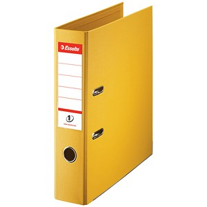Image of Esselte No. 1 Power A4 Lever Arch Files / Slotted Covers / 75mm Spine / Yellow / Pack of 10