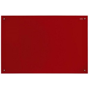 Image of Nobo Glass Magnetic Drywipe Board with Pen Tray / 1200x1800mm / Red
