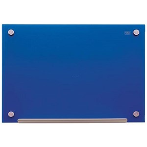 Image of Nobo Glass Magnetic Drywipe Board with Pen Tray / 900x1200mm / Blue
