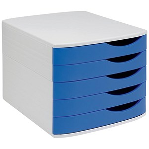 Image of 5 Star Desktop Drawer Set with 5 Drawers / A4 & Foolscap / Grey & Blue