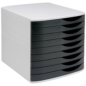 Image of 5 Star Desktop Drawer Set with 9 Drawers / A4 & Foolscap / Grey & Black