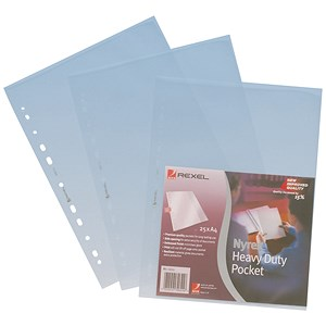 Image of Rexel Nyrex Heavy-duty Pockets / Top & Side-opening / A4 / Clear / Pack of 25