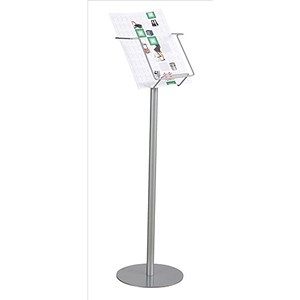 Image of Twinco Floorstanding Literature Display / Open / 1 Compartment / A4 / Silver