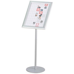 Image of Twinco Literature Display Rotating Floor Stand / Snapframe / A3 / Silver
