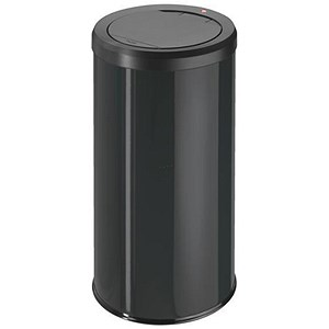 Image of Big Bin Touch Round Stainless Steel and Coated Sheet Steel 45 Litre Black Ref 0845-140