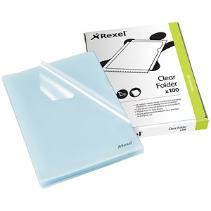 Image of Rexel Cut Flush Folders / Polypropylene / Copy-secure / Embossed Finish / A4 / Clear / Pack of 100