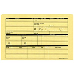 Image of Personnel Wallets / Pre-printed / Yellow / Pack of 50
