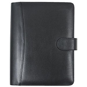Image of Collins Balmoral Desk Organiser / 7 Ring / Leather / 2017 Diary Insert Refills / 216x140mm / Black