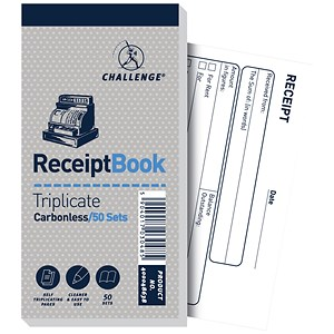 Image of Challenge Carbonless Receipt Triplicate Book / 50 Receipts / 140x70mm / Pack of 10