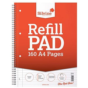 Image of Silvine Wirebound Sidebound Refill Pad / A4 / Punched & Perforated / 160 Pages / Pack of 6