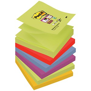 Image of Post-it Super Sticky Z-Notes / 76x76mm / Marrakesh / Pack of 6 x 90 Notes