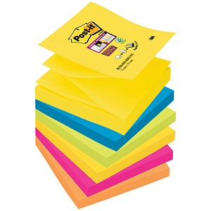 Image of Post-it Super Sticky Z-Notes / 76x76mm / Rio / Pack of 6 x 90 Notes