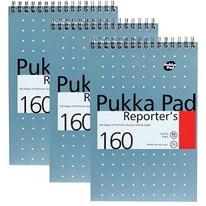Image of Pukka Metallic Wirebound Reporters Pad / 205x140mm / Perforated & Feint Ruled / 160 Pages / Pack of 3