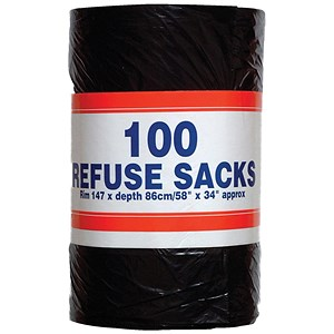Image of Robinson Young Big Value Refuse Sacks / 737x864mm / Roll of 100