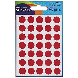 Image of Avery Coloured Labels / 13mm Diameter / Red / 32-507