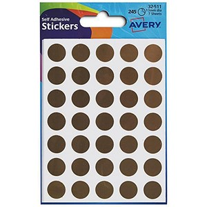 Image of Avery Coloured Labels / 13mm Diameter / Gold / 32-511 / Pack of 245