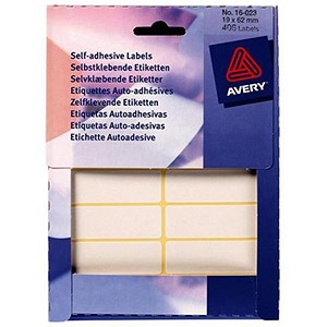 Image of Avery Label Wallet / 19x62mm / White / 16-023 / 406 Labels