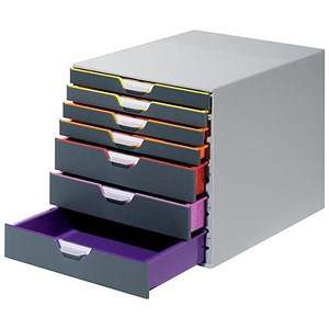 Image of Durable Varicolor Stackable Desktop Drawer Set with 7 Drawers - A4