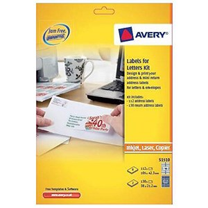 Image of Avery Laser and Inkjet Labels Kit for Letters / A4 / S1510 / 242 labels