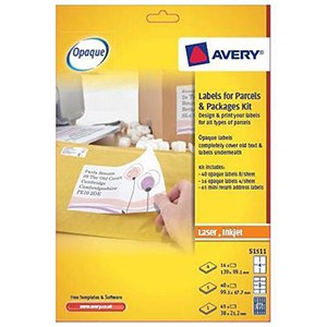 Image of Avery Blockout Labels Kit for Parcels / S1511 / 121 labels