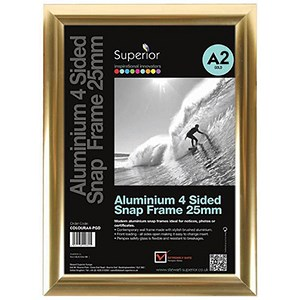 Image of Snap Frame with Mounting Kit Aluminium Anti-glare PVC A2 Polished Gold