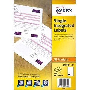 Image of Avery Integrated Single Label Sheet / 85x54mm / White / L4832-100 / 100 Sheets
