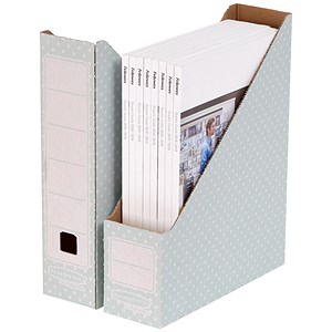 Image of Fellowes Bankers Box Magazine File / Recycled / A4 / Green & White / Pack of 10