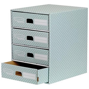 Image of Fellowes Bankers Box 4 Drawer Unit / Fastfold / Recycled FSC / A4 / Green & White