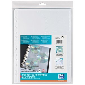 Image of Elba Punched CD/DVD Pockets / Polypropylene / Clear / Pack of 10