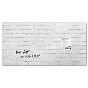 Image of Sigel Artverum Tempered Glass Magnetic Board / 910x460mm / White Brick