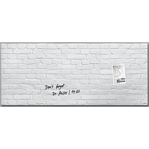 Image of Sigel Artverum Tempered Glass Board / Magnetic / W1300xH550mm / White Brick