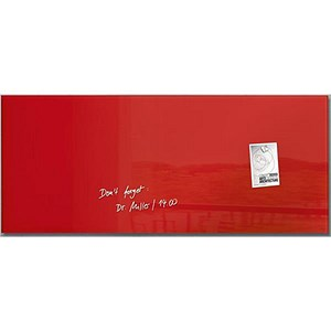Image of Sigel Artverum Tempered Glass Board / Magnetic / W1300xH550mm / Red