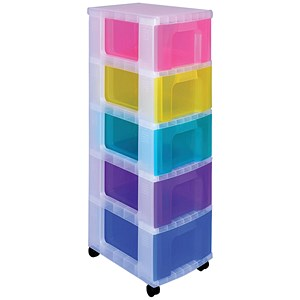 Image of Really Useful Storage Tower / 5 Drawers 5x12L / Clear & Assorted