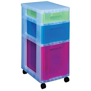 Image of Really Useful Storage Tower / 3 Drawers 7L, 12L & 25L / Clear & Assorted