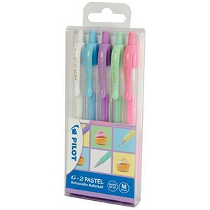 Image of Pilot G2 Retractable Gel Rollerball / Assorted Colours Pastel Colours / Pack of 5