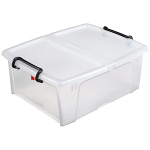 Image of Strata Smart Box / Clip-on Folding Lid Opens Front or Side / 20 Litre / Clear