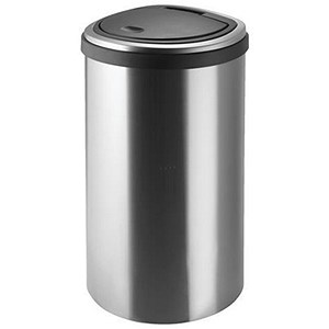 Image of Addis Deluxe D-shaped Flat Back Waste Bin / Press Top / 40 Litre / Stainless Steel