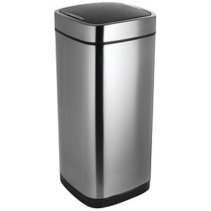 Image of Addis Deluxe Square Waste Bin / Press Top / 40 Litre / Stainless Steel